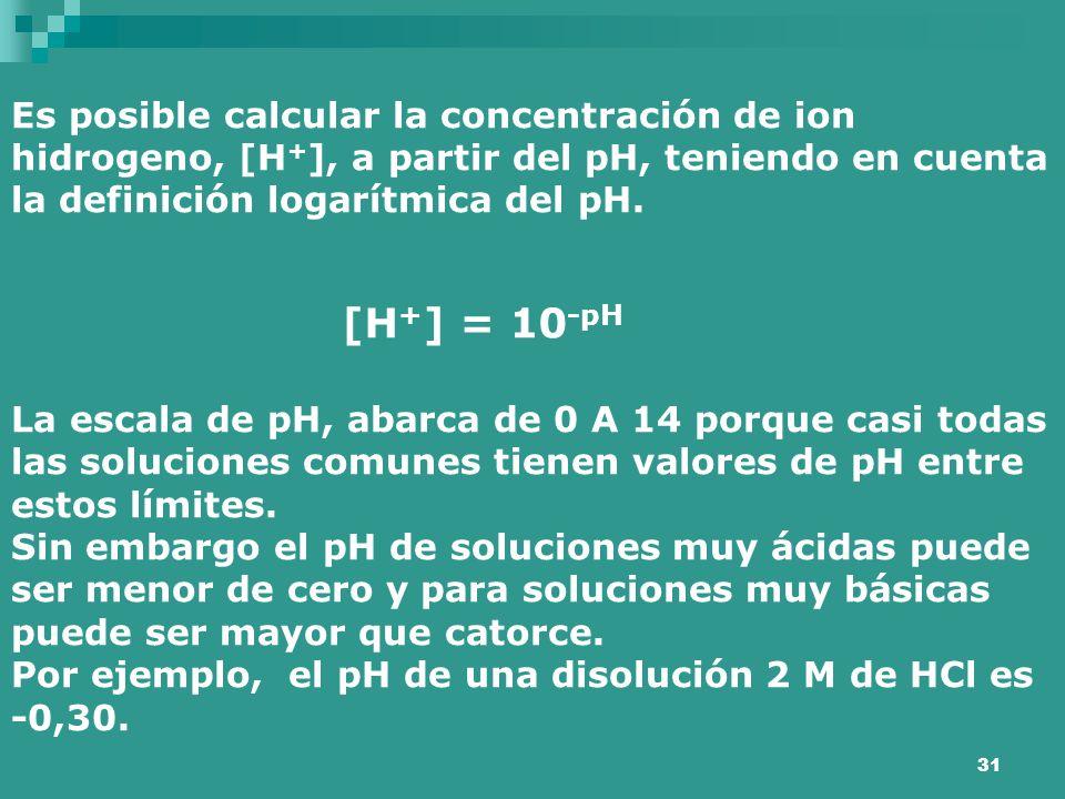 Es posible calcular la concentración de ion hidrogeno, [H+], a partir del pH, teniendo en cuenta la definición logarítmica del pH.